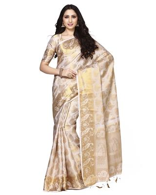 Mimosa beige art silk kanjivaram style saree with blouse