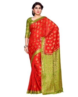 Mimosa Red Art Silk Kanchipuram Style Saree With Blouse