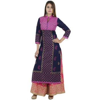 Blue printed cotton long kurtis