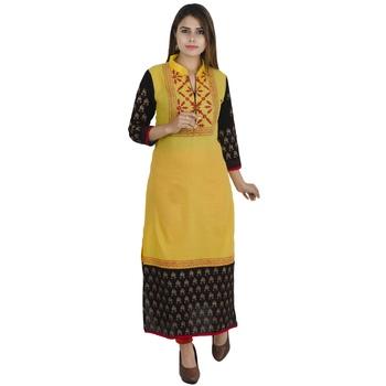 Yellow printed cotton long kurtis