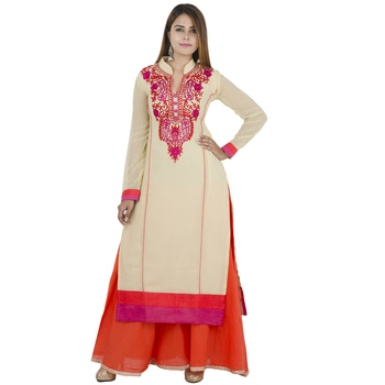 Beige embroidered georgette long kurtis