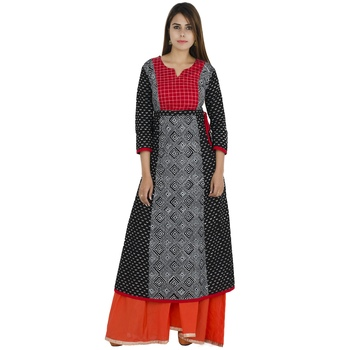 Black printed cotton long kurtis