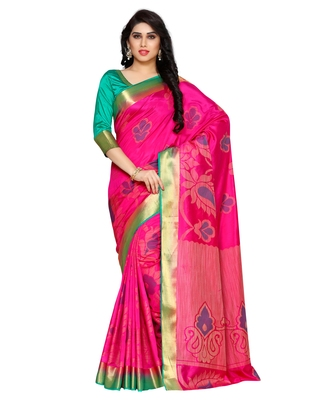 Mimosa Pink Art Silk Kanchipuram Style Saree With Blouse