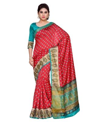 Mimosa Red Tussar Silk Ikkat Style Saree With Blouse
