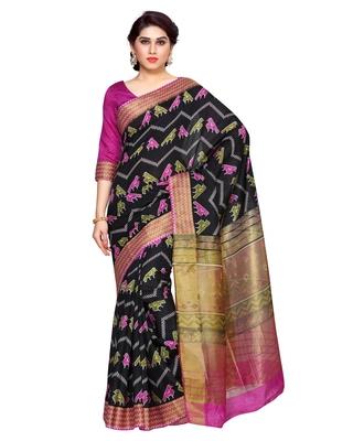 Mimosa Black Tussar Silk Ikkat Style Saree With Blouse