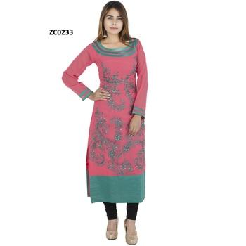 Pink embroidered cotton long kurtis