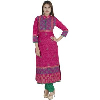 Pink printed cotton long kurtis