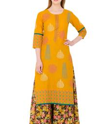 Mustard printed cotton long kurtis