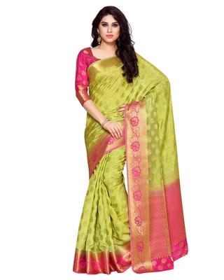Mimosa Lime Green Art Silk Kanchipuram Style Saree With Blouse