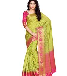Buy Mimosa lime green art silk kanchipuram style saree with blouse women-ethnic-wear online