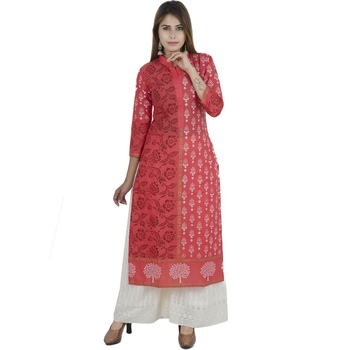 Pink printed cotton long kurtis