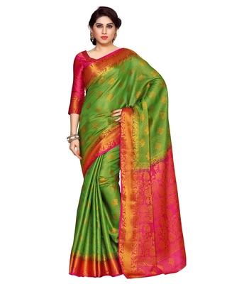Mimosa Green Art Silk Kanchipuram Style Saree With Blouse