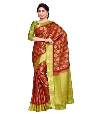 Mimosa Rust Art Silk Kanchipuram Style Saree With Blouse