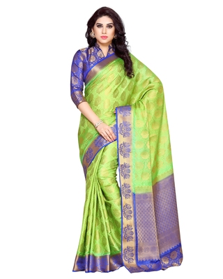 Mimosa Lime Green Art Silk Kanchipuram Style Saree With Blouse