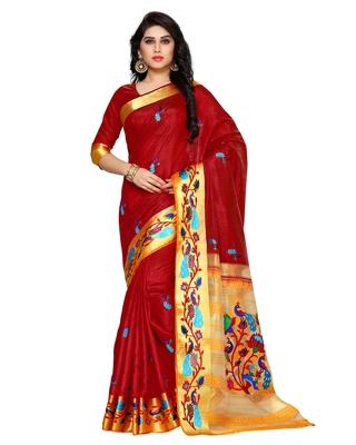 Mimosa Maroon Tussar Silk Kanchipuram Style Saree With Blouse