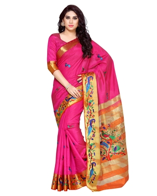 Mimosa Pink Tussar Silk Kanchipuram Style Saree With Blouse