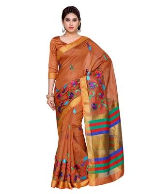 Mimosa Tan Art Silk Kanchipuram Style Saree With Blouse