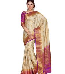 Mimosa beige art silk kanchipuram style saree with blouse