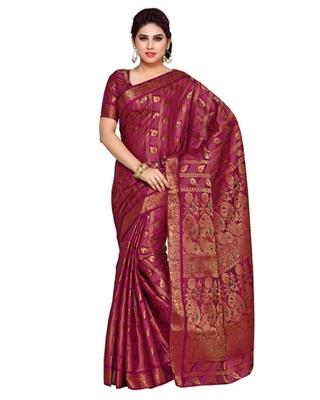 Mimosa Purple Art Silk Kanchipuram Style Saree With Blouse