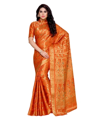 Mimosa Rust Art Silk Kanchipuram Style Saree With Blouse