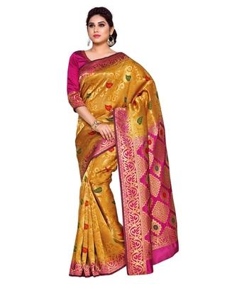 Mimosa Orange Art Silk Kanchipuram Style Saree With Blouse