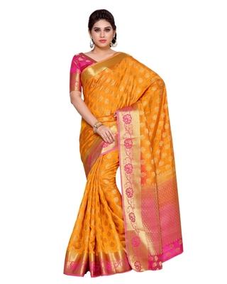 Mimosa Gold Art Silk Kanchipuram Style Saree With Blouse