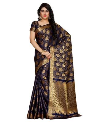 Mimosa Navy Blue Art Silk Kanchipuram Style Saree With Blouse