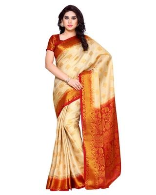 Mimosa Beige Art Silk Kanchipuram Style Saree With Blouse