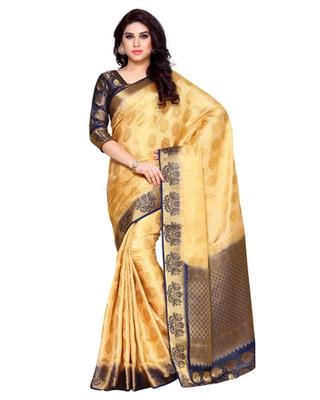 Mimosa Cream Art Silk Kanchipuram Style Saree With Blouse