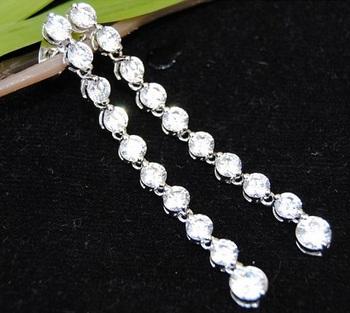 American Diamond Drop Sterling Silver Dangler Earrings