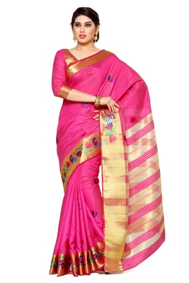Mimosa pink tussar silk kanjivaram style saree with blouse