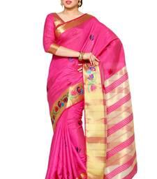 Buy Mimosa pink tussar silk kanjivaram style saree with blouse tussar-silk-saree online