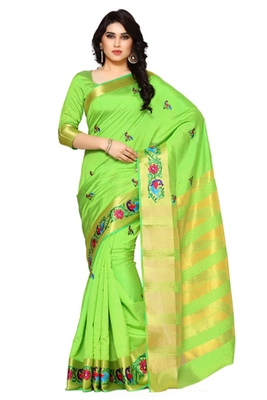 Mimosa Green Tussar Silk Kanjivaram Style Saree With Blouse
