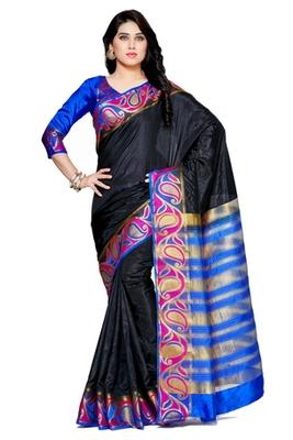 Mimosa Black Tussar Silk Kanjivaram Style Saree With Blouse