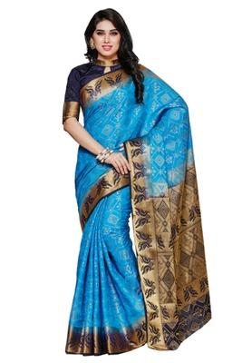 Mimosa Blue Tussar Silk Patola Kanjivaram Style Saree With Blouse