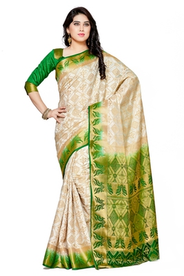 Mimosa off white tussar silk patola kanjivaram style saree with blouse