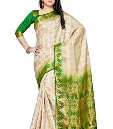 Buy Mimosa off white tussar silk patola kanjivaram style saree with blouse tussar-silk-saree online