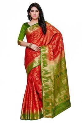 Mimosa Red Tussar Silk Patola Kanjivaram Style Saree With Blouse