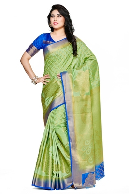 Mimosa Green Art Silk Kanjivaram Style Saree With Blouse