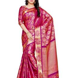 Buy Mimosa pink art silk kanjivaram style saree with blouse women-ethnic-wear online