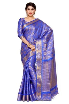 Mimosa Blue Art Silk Kanjivaram Style Saree With Blouse