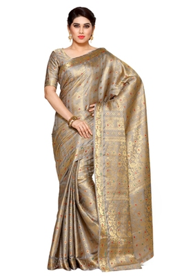 Mimosa Taupe Art Silk Kanjivaram Style Saree With Blouse