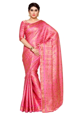 Mimosa Pink Art Silk Kanjivaram Style Saree With Blouse