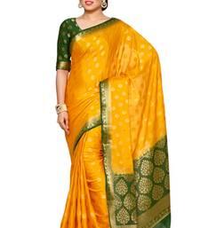 Mimosa gold crepe kanjivaram style saree with blouse