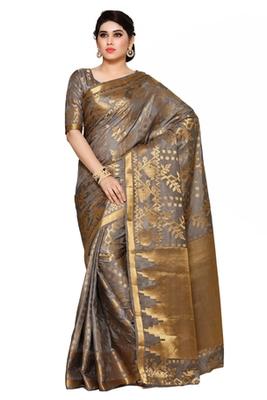 Mimosa taupe art silk patola kanjivaram style saree with blouse