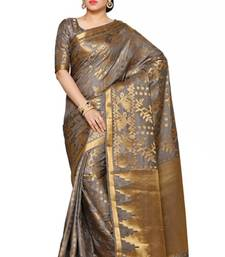 Mimosa Taupe Art Silk Patola Kanjivaram Style Saree With Blouse