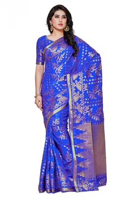 Mimosa Blue Art Silk Patola Kanjivaram Style Saree With Blouse