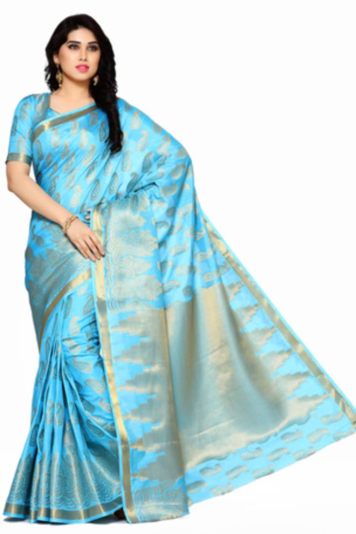 0981705d21898e Mimosa turquoise blue art silk kanjivaram style saree with blouse ...