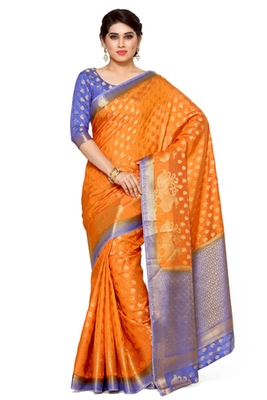 Mimosa Orange Art Silk Kanjivaram Style Saree With Blouse