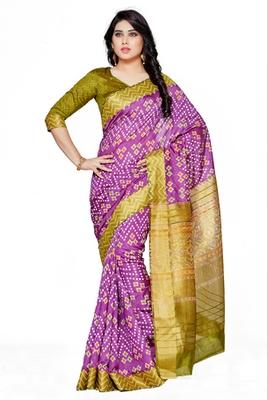 Mimosa purple tussar silk ikkatstyle saree with blouse
